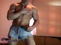 Horny muscular stud shows off his jacked shaved body then sticks a dildo up