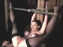 Busty Girl In Stockings Tied To Pillar With Legs Up Getting Her Pussy Fingered Fucked With Toy Whipped Weights To Toes