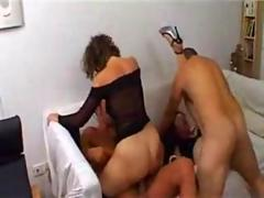 Two Wet Horny French Mature Moms In A Foursome