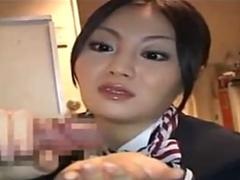 Japanese Stewardess Gives a sticky Handjob