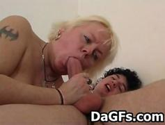 Busty blonde mature lady sucks and fucks hard