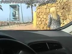 Slut MILF Wife Flashes Her Black Stockings In Public At The Callbox