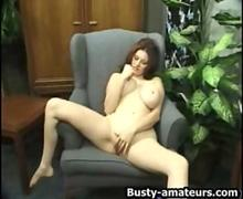 Kathryn fingering her pussy on couch
