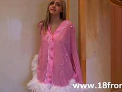 Pink petite teenager stripping