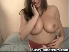 Busty Sara loves toying her pussy