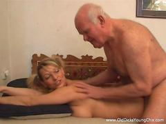 Bald old fart plows a bosomy blondes tight pussy