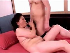 Mature Woman Sucking Young Guy Cock Fucked On The Bed