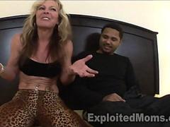 46 yr old Wild Amateur Cougar eats up Black Guy in bed