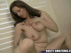 Busty Kitty on hot striptease and toying act