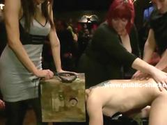 Brunette sex slave tied and undressed by force getting spanked and humiliated in front of public