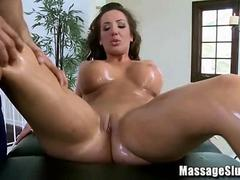 Big Tits Brunette gets Massaged and Wants his Cock