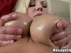 Busty Blonde Lylith Lavey gets Oiled Up and Rubbed Down