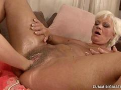 Horny granny masturbating and getting fisted