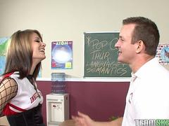InnocentHigh Young skinny cheerleader Sensi Pearl fucks teacher