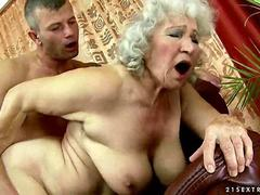 Busty hairy granny enjoys a hard fucking she is getting