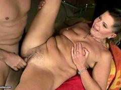Hairy granny has hard sex with her lovers dick