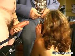 Mature hairy slut fucks two old guys