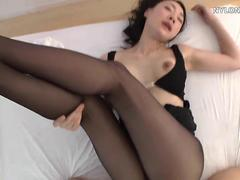 Asian brunette gets her pussy plowed through her pantyhose
