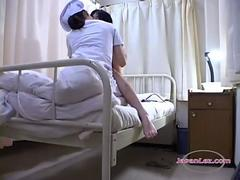 Asian Girl Getting Her Pussy Licked By The Nurse On The Bed In The Hospital