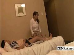 Subtitled Japanese hotel massage masturbating surprise