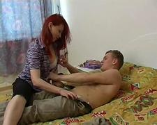The sexiest Russian milf Irene fucks her teen neighbor