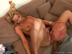 Young blonde honey fucking with an old bald dude