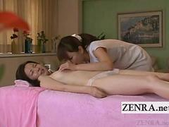 Subtitled Japanese milf lesbian oil massage foreplay