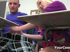 Horny Student Gives A Handjob In The Classroom