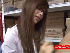 Japanese Office Lady With Glasses Jerking Off her manager