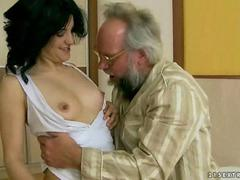Nasty girl fucking with an ugly bearded old man