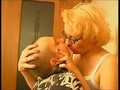 mature blonde forcibly tongue kissing young short boy