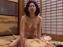 Asian mature slut rides a cock like crazy
