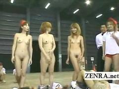 Subtitled group of CMNF Japanese gyaru kinky tug of war