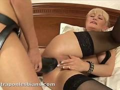 Rocky stretches Anitas asshole with a big strap on