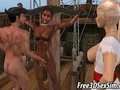 Foxy 3D ebony babe getting fucked on a pirate ship