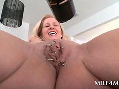 Blonde big tits milf flashing pierced wet cunt in close-up