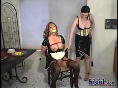 Lezdom Anastasia ties her busty maid up