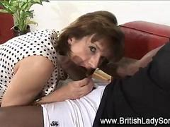 Interracial mature lady Lady Sonia gagging on a BBC