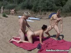 Nude beach swingers threesome