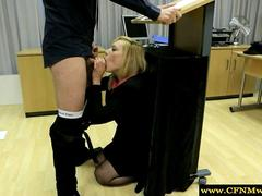 Femdom humiliating her sub by sucking him during class