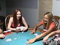 Sexy teen hotties lose a game of strip poker