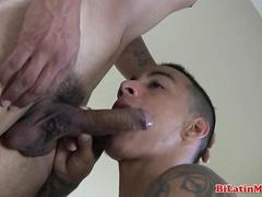 Dudes dick is getting shaved by his lover