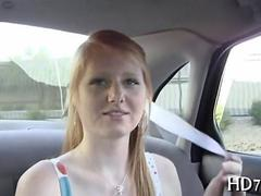 Pale ginger floozy takes a kinky car ride