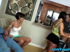 Handjob loving milf instructs teen on HJ