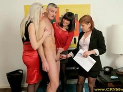 Cfnm milfs go down on a lucky office employee