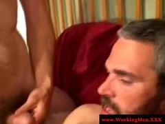 Straight working bears jerking off and sucking cock