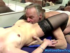 Mature dutch whore fucked by some old men