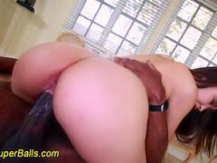 Asian slut loves a black cock to ravage her ass