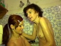 Granny and a teen have a bath together
