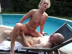 Hot grandma making love with her young lover outdoors